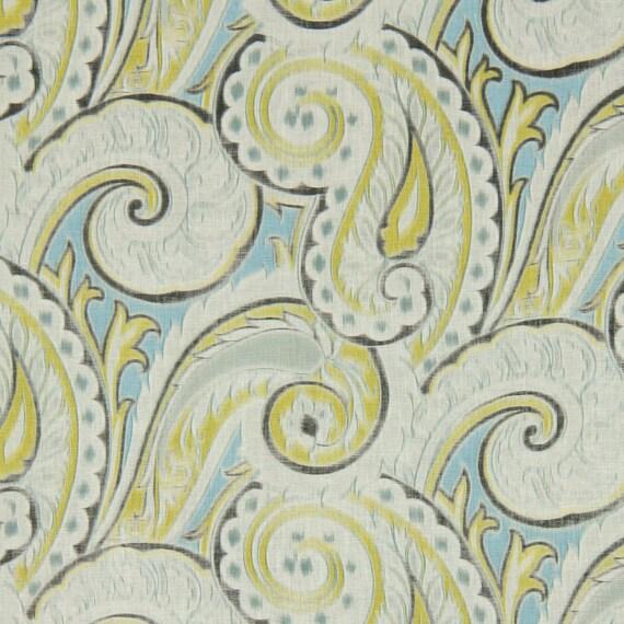 aqua yellow linen paisley fabric grey yellow paisley. Black Bedroom Furniture Sets. Home Design Ideas