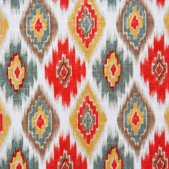 Multicolor Ikat Upholstery Fabric Bright Coral Cotton