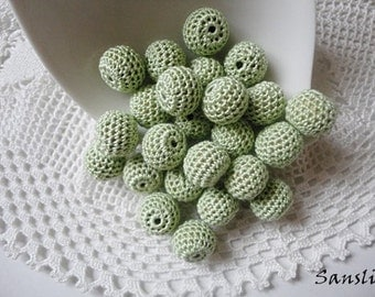 12 pcs- 13 mm beads-crocheted bead-green beads-round beads-crochet ball beads-beads crochet-embellishment-wooden crochet cotton yarn beads