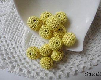 12 pcs- 13 mm beads-crocheted bead-yellow beads-round beads-crochet ball beads-beads crochet-embellishment-wooden crochet cotton yarn beads