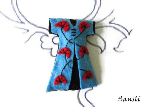 Felt brooch-brooch felt-felt pin-felt kaftan brooch-kaftan brooch-accessories brooch-felt jewelry-felt accessories-blue kaftan brooch