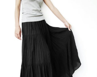 NO.5     Black Cotton Gauze, Hippie Gypsy Boho Tiered Long Peasant Skirt