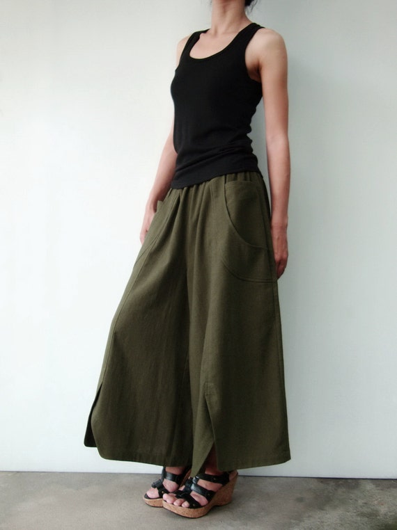 NO.41 Dark Olive Cotton Wide Leg Pants Unique Pockets Capri