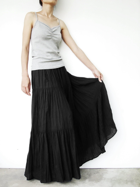 No 5 Black Cotton Gauze Hippie Gypsy Boho Tiered Long