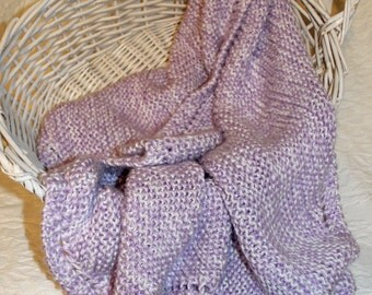 Soft Lavender and White Knit Baby Blanket