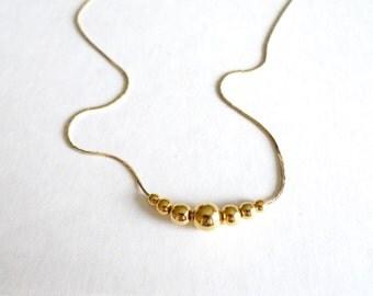 Adjustable Gold Bead Vintage Necklace