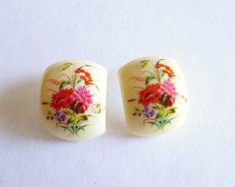 Pink Flower Cream Vintage Earrings