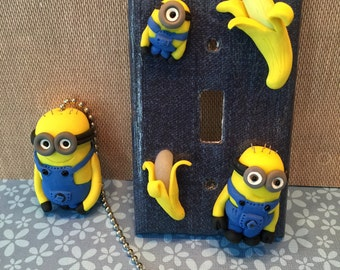 Polymer clay Minion inspired light switch pull,inspired by Despicable Me inspired, light switch plate, denim light plate