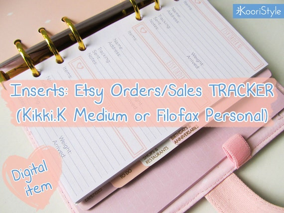 Printable Etsy Orders Sales Tracker Inserts For Kikki K Medium