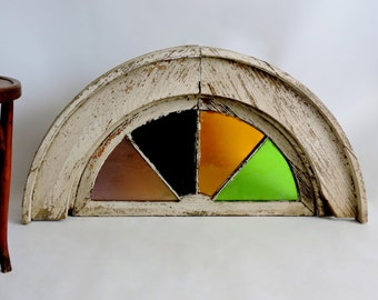 Antique Stained Glass Window. Church Window. 19th Century Architectural Salvage.
