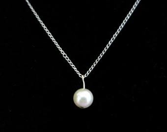 Vintage Cultured Pearl 16 inch Sterling Silver Chain