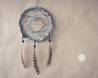 Sale -30%  - Dream Catcher - Winter Dreams - With Turquoise Butterfly Pendant, Brown-Turquoise Web and Brown Feathers - Home Decor