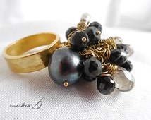 Hilltribe Hammered Artisan Vermeil Ring, Statement Ring, Cha Cha Ring with Black Spinel, Black Pearl and Smoky Quartz