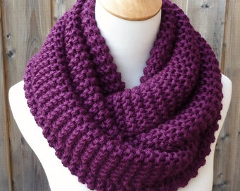 Grape Infinity Scarf - Plum Infinity Scarf - Chunky Knit Scarf - Circle Scarf - Ready to Ship