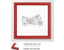 "SUZUKI GSX 650F 2011, Original Handmade Drawing, Framed Art Print 12""X12"" or 22""x22"" Familystyle"