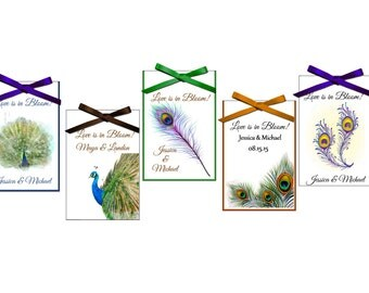 Seed Packet Favors - peacock seed packet favors - wedding favor, bridal shower favors, - set of 12