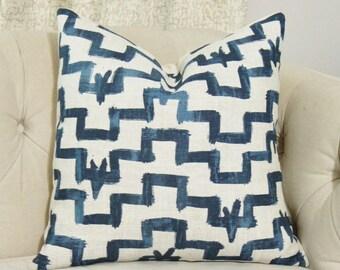 Zak and Fox Designer Pillow - Tulu - Indigo Blue Pillow Cover - Geometric Throw - Modern Blue Brush Stroke Pillow - Blue and Gray