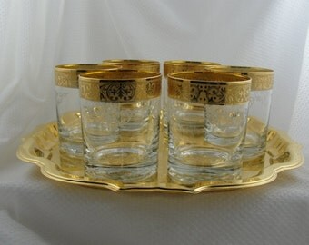 ON SALE! Stunning Gold  Lowball Glassware set and Tray