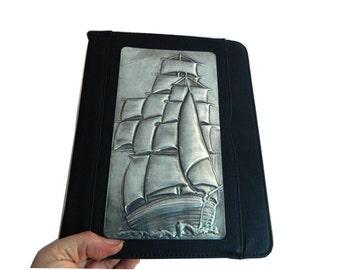 Leather iPad Case Pewter Sailing Ship