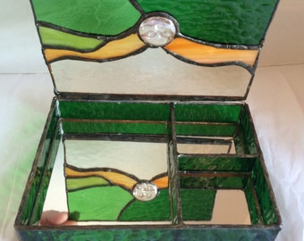 Rising Sun Stained Glass Jewelry Box