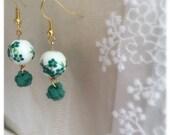 Green suede knotted ceramic beads dangle earrings.  Asian style.  Green flowers earrings. Jewellery.  Love green