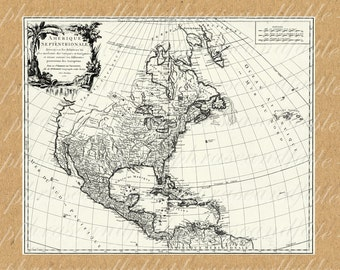Map Of Americas From The 1700s 324 North America South America New World Map Continent Ocean Home Decor Coast Cartography Adventure Travel