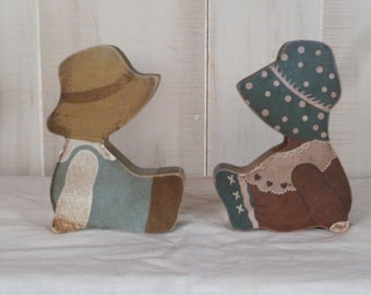 Candle Holders Wood Farmer Boy and Girl Country Decoration