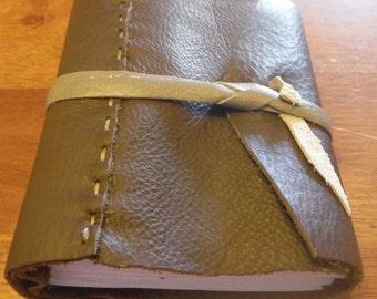 Med Brown Leather Book (blank), double-wrap closure, 480pg