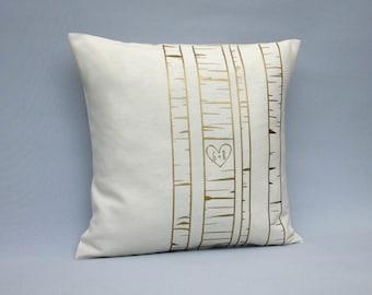 Birch tree pillow -Gold wedding pillow - 16x16 18x18 20x20 24x24 - Birch tree cushion - Metallic gold irch throw pillow- personalized pillow