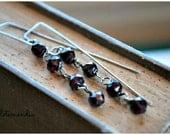 Garnet Earrings Long Rectangular Drops Sterling Silver Boho Chain Modern Burgundy Jewelry by Letemendia