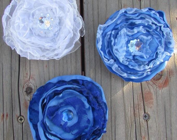 Flower Hair Clips, Hat Clips, White & Blue, Bridal Hair Flower, Wedding Accessories, Bridal Hair Fascinator, Handmade,  Satin Flowers
