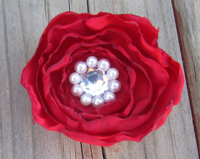 Red and Chartreuse Handmade Flower Hair Clips, Hat Clips, Victorian, Bridal Hair Flower, Wedding Accessories, Pearls, Rhinestones