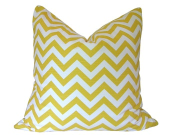 Custom Pillow Cover / Zig Zag by Premier Prints in Corn Yellow and White / Chevron / Both Sides / Made to Order