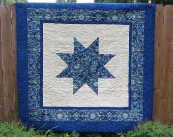 Quilt -Blue Star Lap Quilt - Sofa Quilt