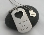 You Have My Heart Personalized Key Chain and Necklace Couple's Gift - Anniversary Wedding Birthday Father's Day