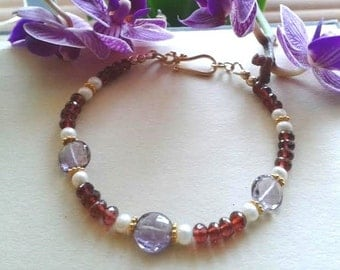 Garnet & amethyst bracelet, gold filled jewelry