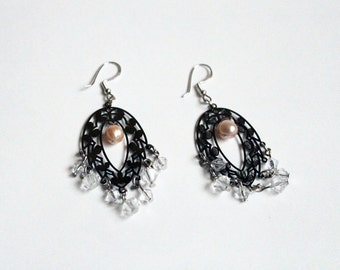 Filigree Earrings with Freshwater Pearls