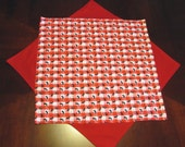 Table topper Red check with black ants or basket liner