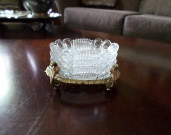 Vintage Bleikristal Ornate Oval Crystal Ashtrays/Trinket Dish-Gold Metal Holder
