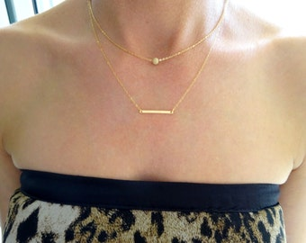 Necklace Set of Two, Layered Necklace in 14K Gold Filled, Minimalist Gold Necklace Delicate Jewelry Dainty Solitaire Necklace Bar Necklace