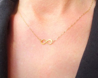 Simple Necklace, Simple Gold Necklace, Simple Inifinity Necklace, Bridesmaids Gift Jewelry, Gold Delicate Necklace, Dainty Necklace Gift