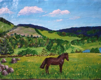 Summer day Wall Décor Original Acrylic Painting Small Decorative Art Hand painted on Handmade Paper Mache Horse