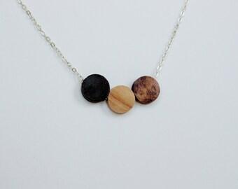 Walnut and Birch Wood Geometric Silver Necklace black