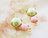 Petite Rhinestone Duo Drops Opaque Pink and AB Mint Green Glass Stone Drops Dangles – 2