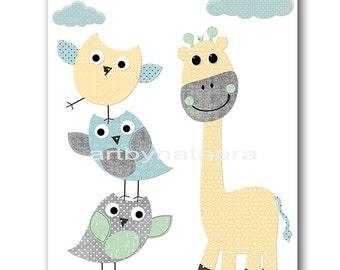Owls Giraffe Nursery Baby Boy Nursery Prints Childrens Art Nursery Wall Art Kids Room Decor Kids Art Kids Wall Art Gray Yellow Blue