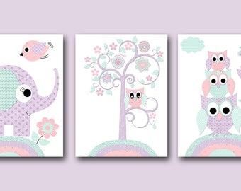 Kids Art For Childrens Room Baby Girl Nursery Art Print Childrens Art Prints Kids Room Decor Elephant Owls set of 3 Purple Mint Pink