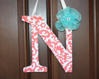 Hanging inital-Coral-white- teal-Front door decor-Wooden inital-Letter N