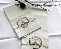 Vintage Tea Towels - Pair of Kitchen Towels - Irish Antique Huck Linen - Hand Embroidered - Floral Motif Embroidery - Hand Towels