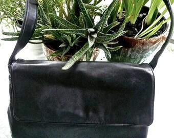 Vintage Purse - Danier Bag - Shoulder Bag - Cross Body Satchel - Supple Black Leather - Multi Pocket Bag - Women's Accessory - Urban Hipster