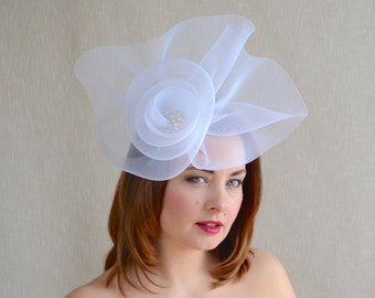 SALE - White Oversize Headpiece - White Bridal Fascinator - Races Headpiece - Mother of the Bride Fascinator